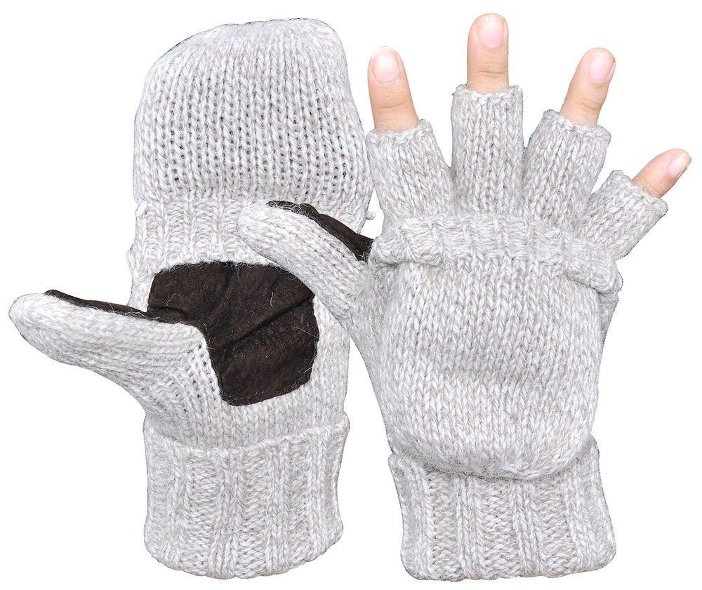Men\'s Winter Gloves Warm Wool Knitted Convertible Fingerless Mittens ...
