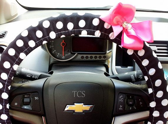 Black And White Polka Dot Steering Wheel Cover By