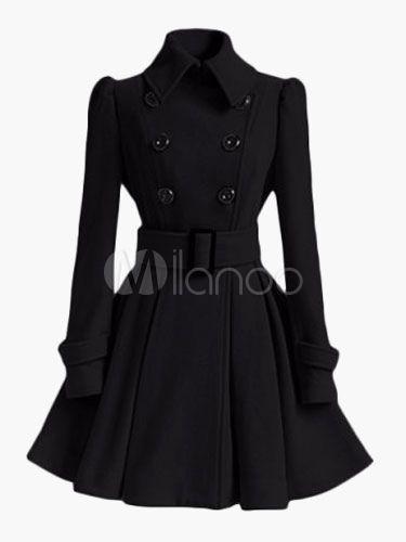 in 2019 Women Black Dress Cotton Double for Coat brested l1FcJK