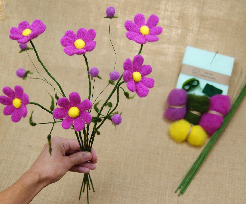 6 Diy Needle Felt Flower Cosmos Flowers Diy Ki Diy For Beginners Needle Felt Flower Kit Needle Felting Kit Felt Flowers Needle Felting Kits Flower Making