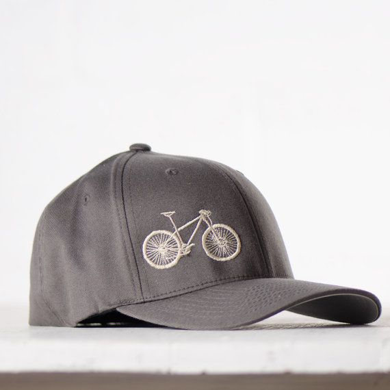Large Xl Mountain Bike Flexfit Fitted Hat Cream Embroidery On Charcoal Cap Fitted Hats Mountain Biking Flex Fit Hats