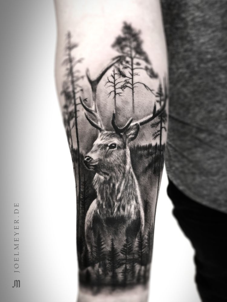 Deer Forest Realistic Tattoo Black And Grey Joel Meyer Animal Sleeve Tattoo Black And Grey Tattoos Grey Tattoo
