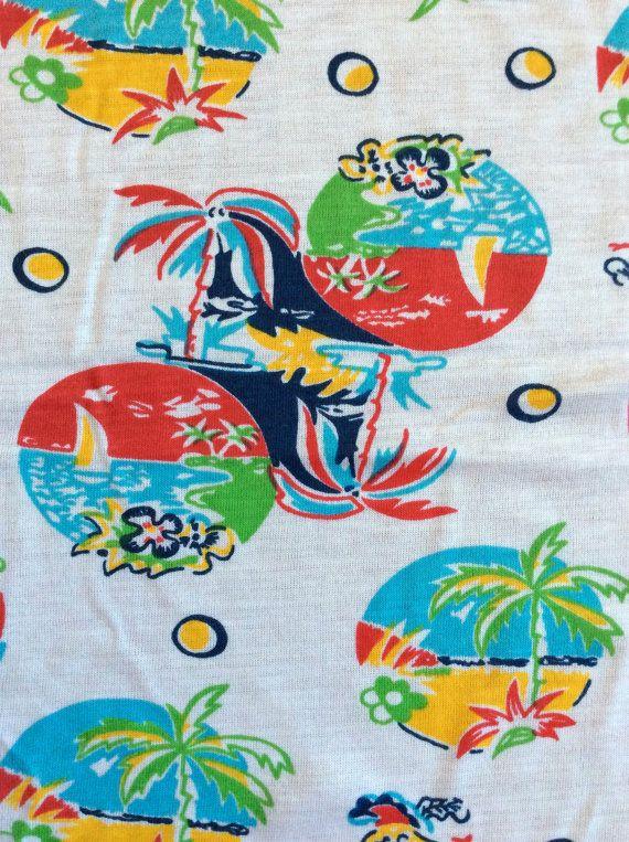 Vintage Beach Print Jersey Knit Fabric Island By Acafterglow Jersey Knit Fabric Knit Jersey Fabric