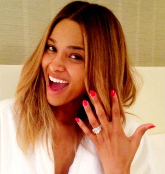 Ciara Engaged Selfie Ring Celebrity Engagement Rings Engagement Celebration Engagement