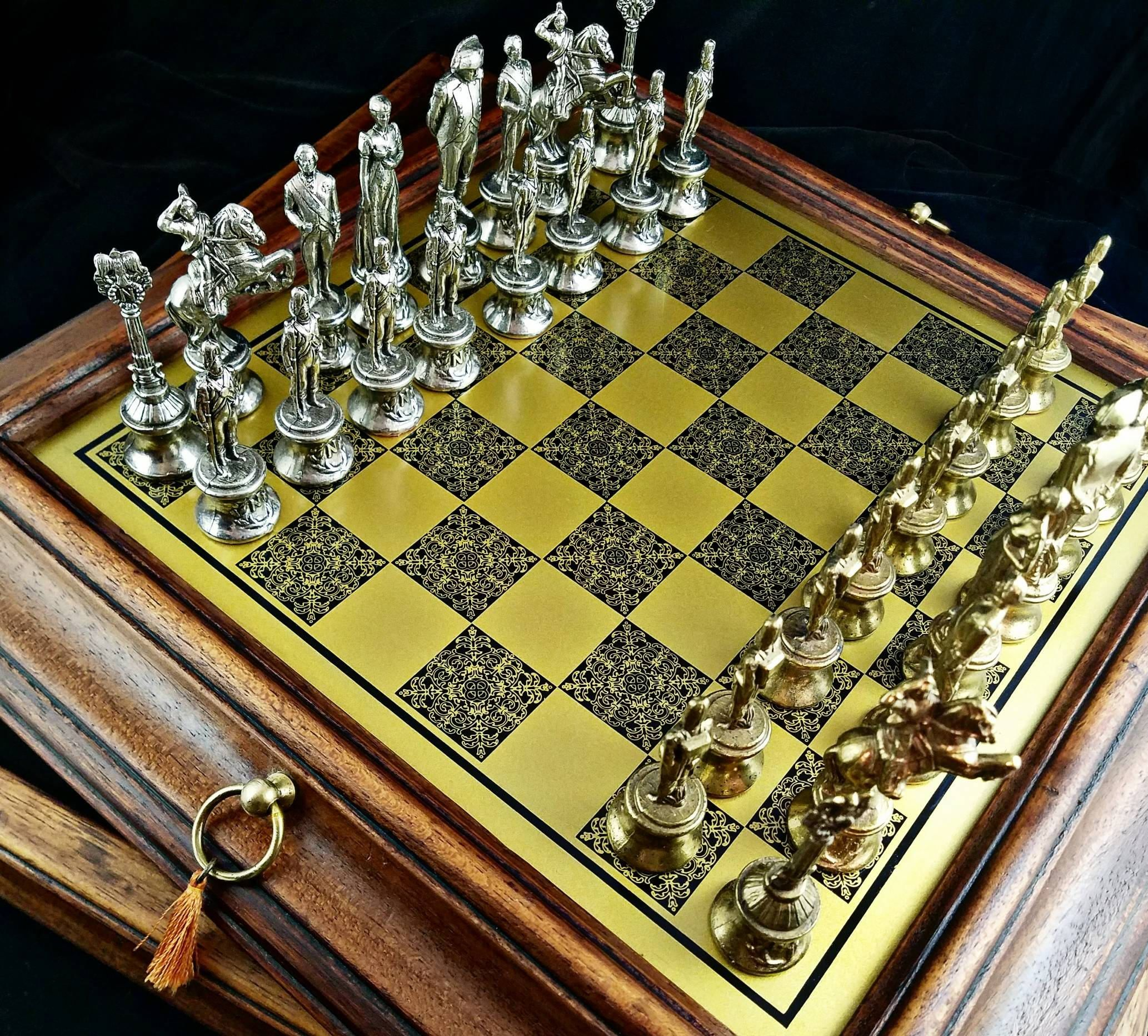 Steel Chess Pieces Antique Objets Dart Game Boxes Austrohungarian Silver
