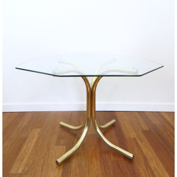 Brass And Glass Octagonal Dining Table Hollywood Regency Glam
