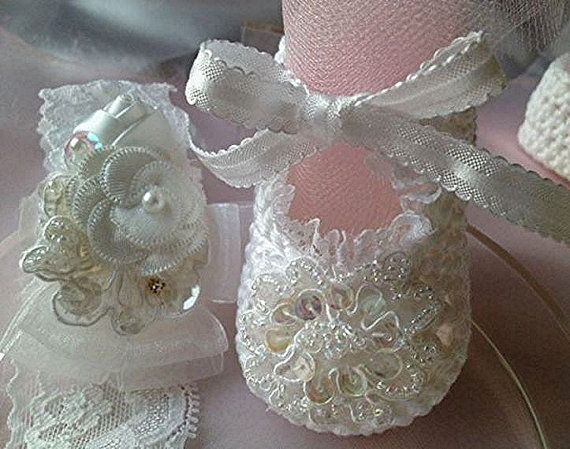 Christening Baby Girl Booties, Baptism Crochet Baby Booties ...