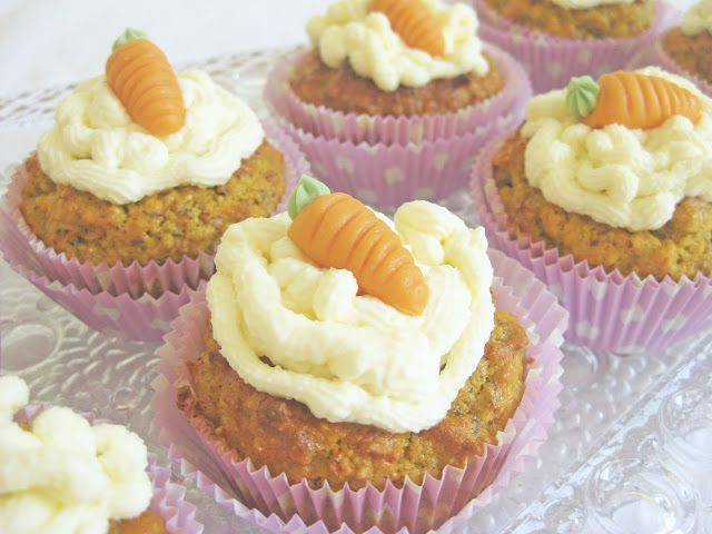 carrot cake cupcakes with a lemon mascarpone topping.