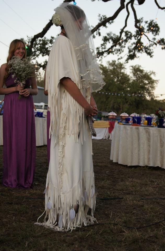 White buckskin wedding dress.