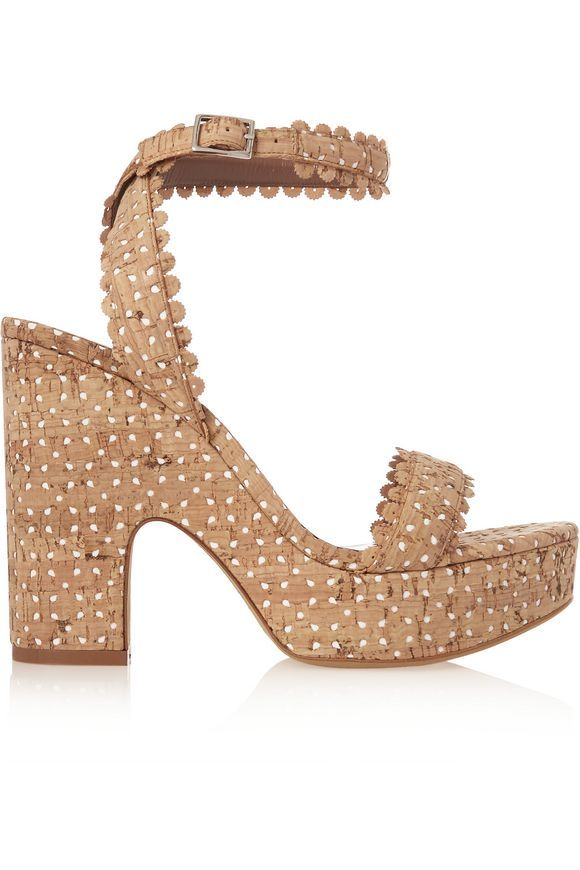 TABITHA SIMMONS Harlow perforated cork and leather sandals | Shoes |  Pinterest | Leather sandals, Cork and Designer high heels