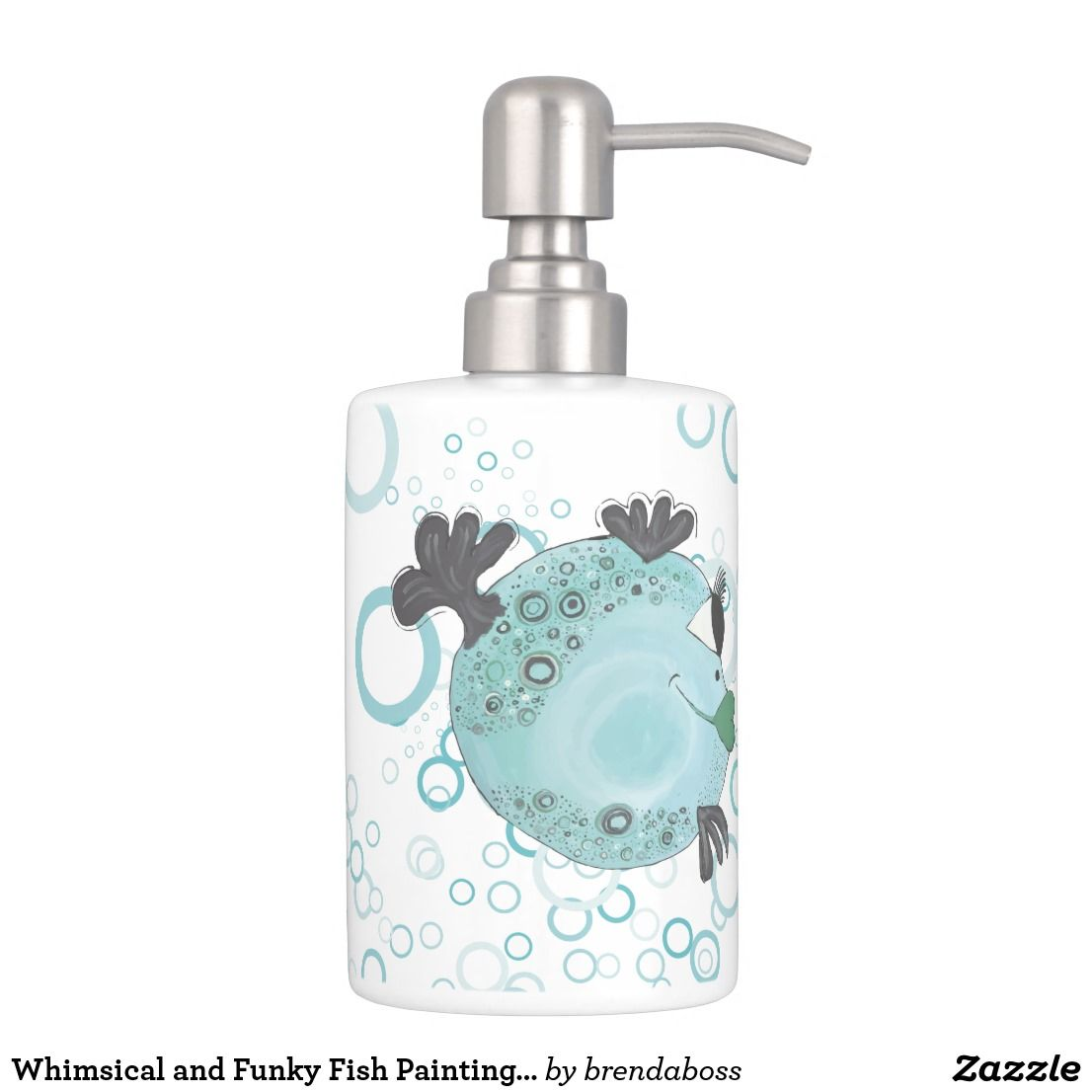 Whimsical and Funky Fish Painting in Teal Bath Set | Bath Accessory ...