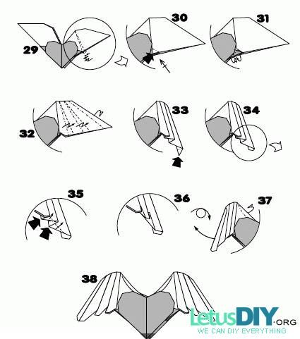 Origami Heart With Wings Step By Step Choice Image Coloring Pages