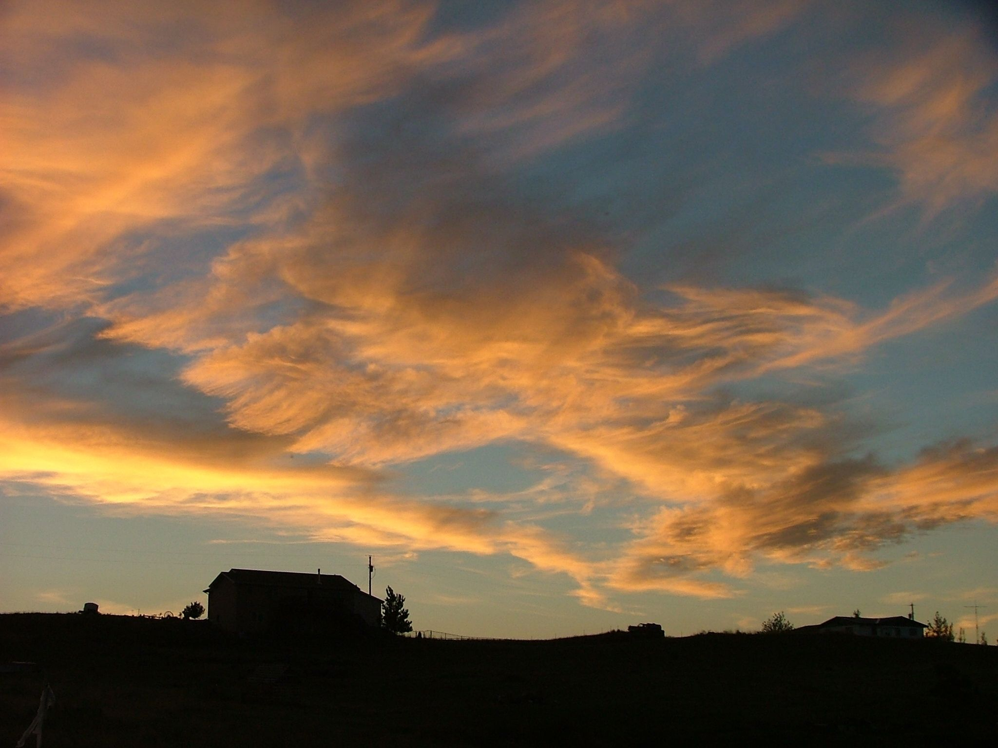 """Natural cloudscape photo taken in Billings, MT. I call this """"Peachy Blue Afternoon"""""""