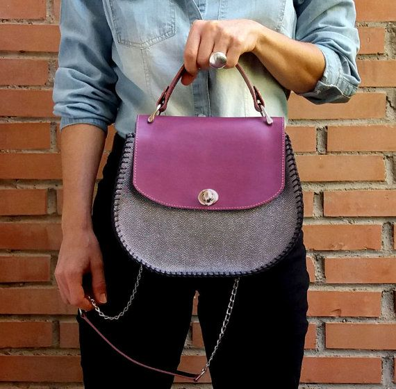 Purple, Black and silver. The colours of the season!! Shop this bag at Etsy: https://www.etsy.com/es/listing/488402027/leather-saddle-bag-leather-crossbody-bag?ref=shop_home_active_1