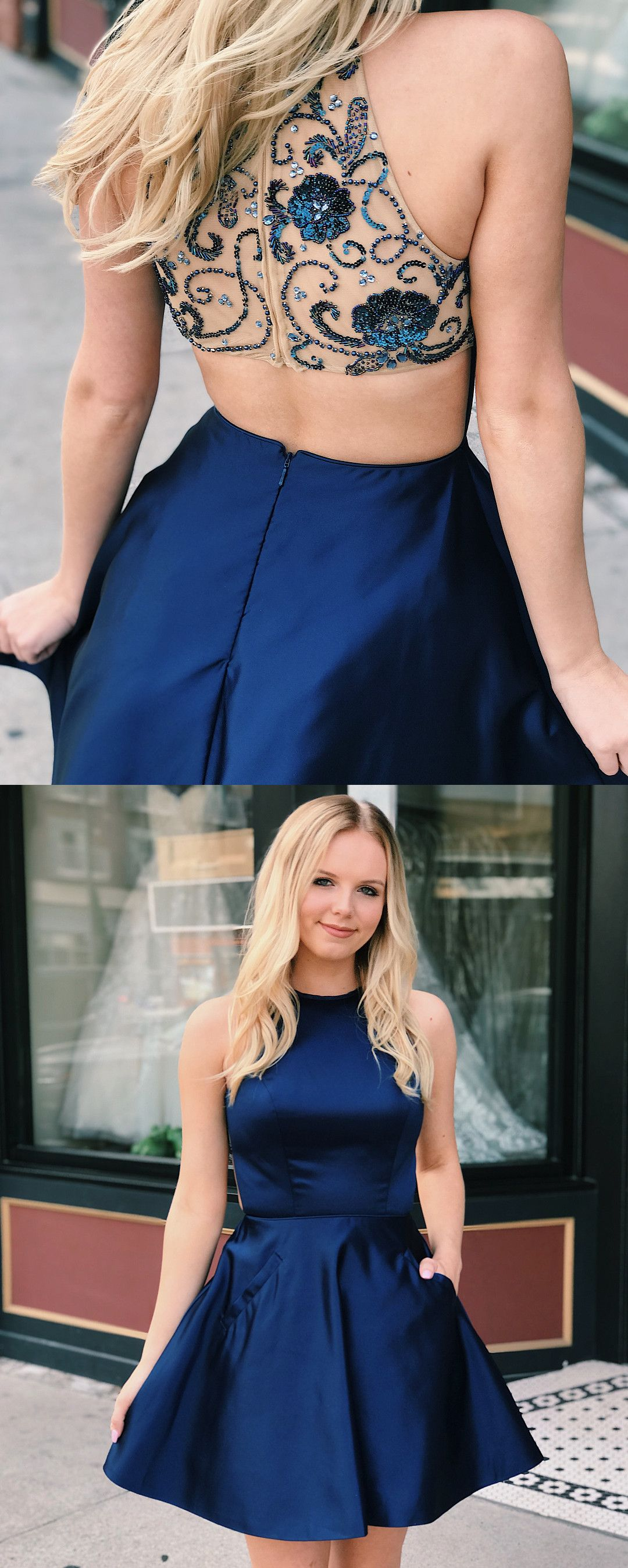 Short navy blue homecoming dress with pockets from modsele in