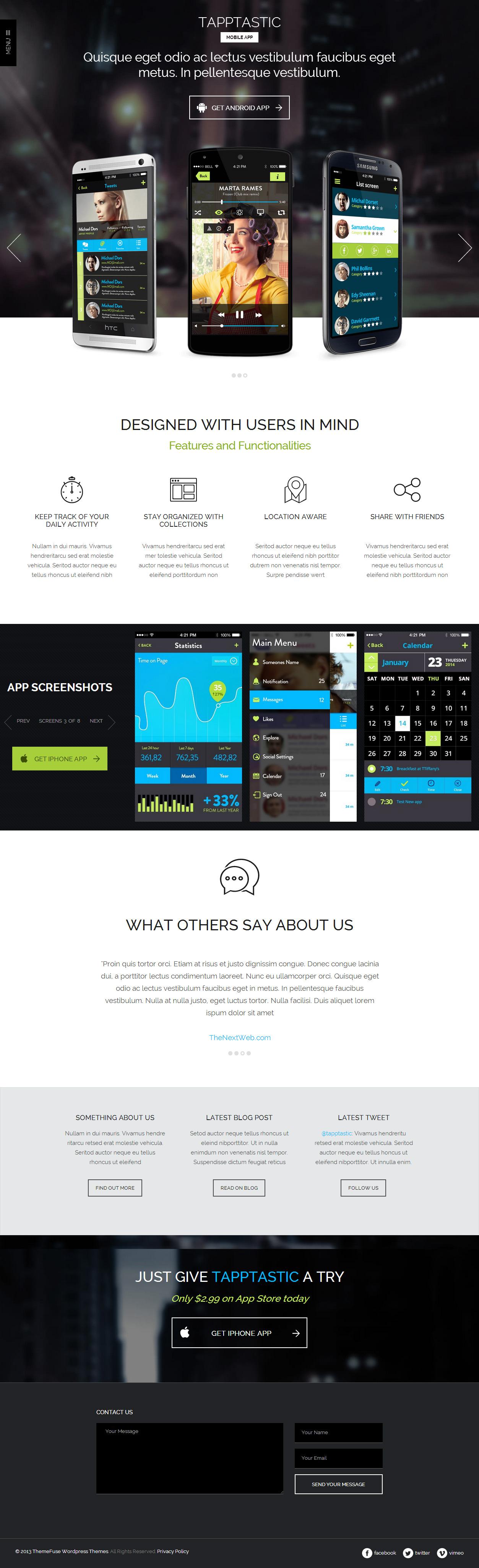 Tapptastic Premium Responsive Mobile App Retina Flat