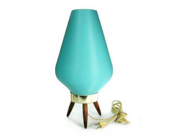 Mid Century Beehive Lamp / Danish Modern Atomic Tripod Lighting / Space Age  Turquoise Aqua Blue