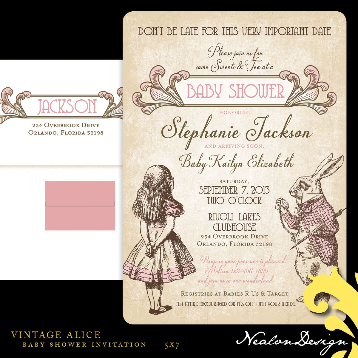 alice in wonderland baby shower invitations template