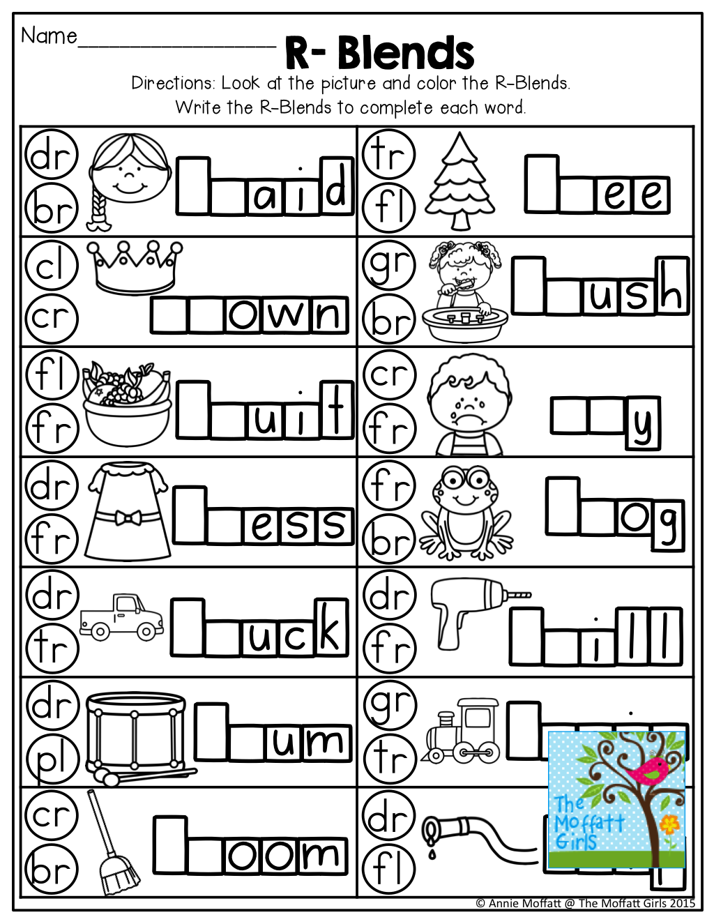Letter Ending Blends Worksheet