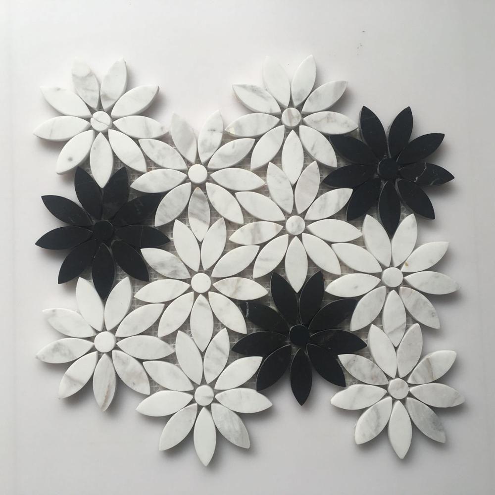 Gambar Mozaik Bunga Hitam Putih Cari Kualitas Tinggi Ubin Dinding Mosaik Hitam Putih Produsen Dan Cara Menggambar Bunga Bunga Gambar Bunga Menggambar Bunga