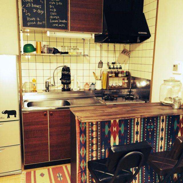 キッチン 2dk アメリカンポップ カウンターテーブルdiy 古いキッチン