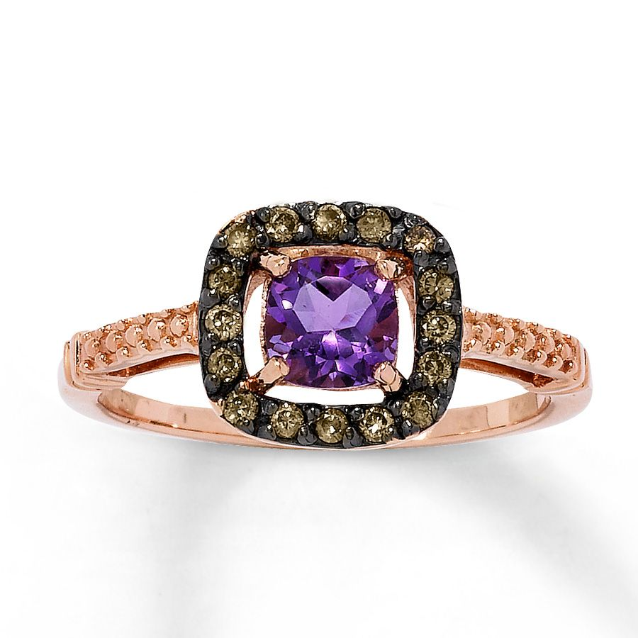 Amethyst ring with champagne diamonds 10k rose gold 490911308