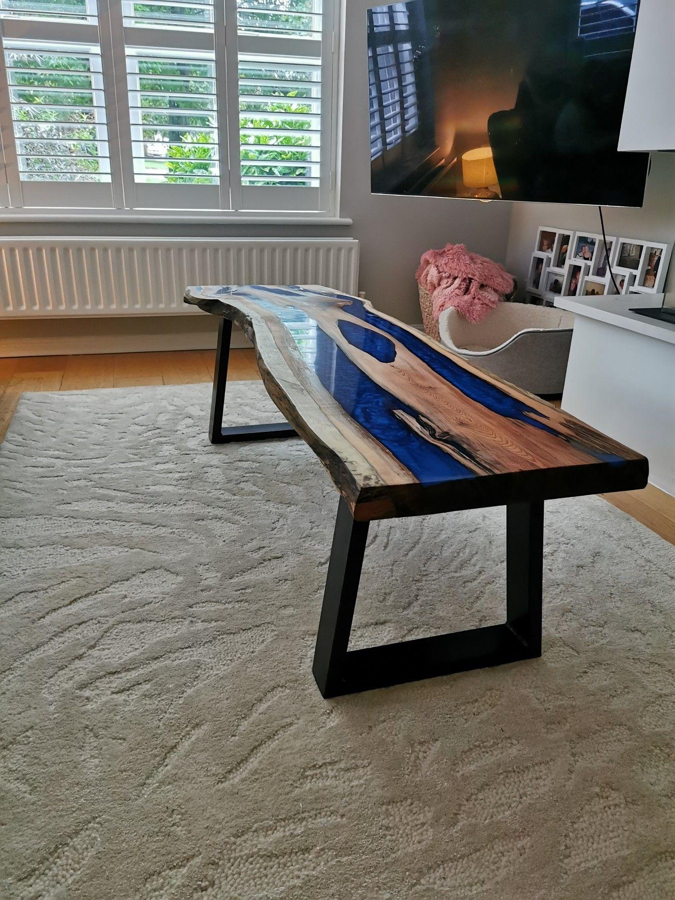 Resin Table By Uk Craftsman Dan At Cedars Yard Yew And Metallic River Effect Table Rustic Furniture Furniture Live Edge Rustic [ 1824 x 1368 Pixel ]
