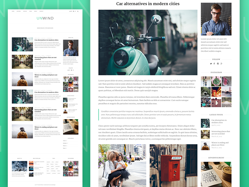 Inner pages for Unwind WordPress Theme by Ricardo Salazar #Design ...