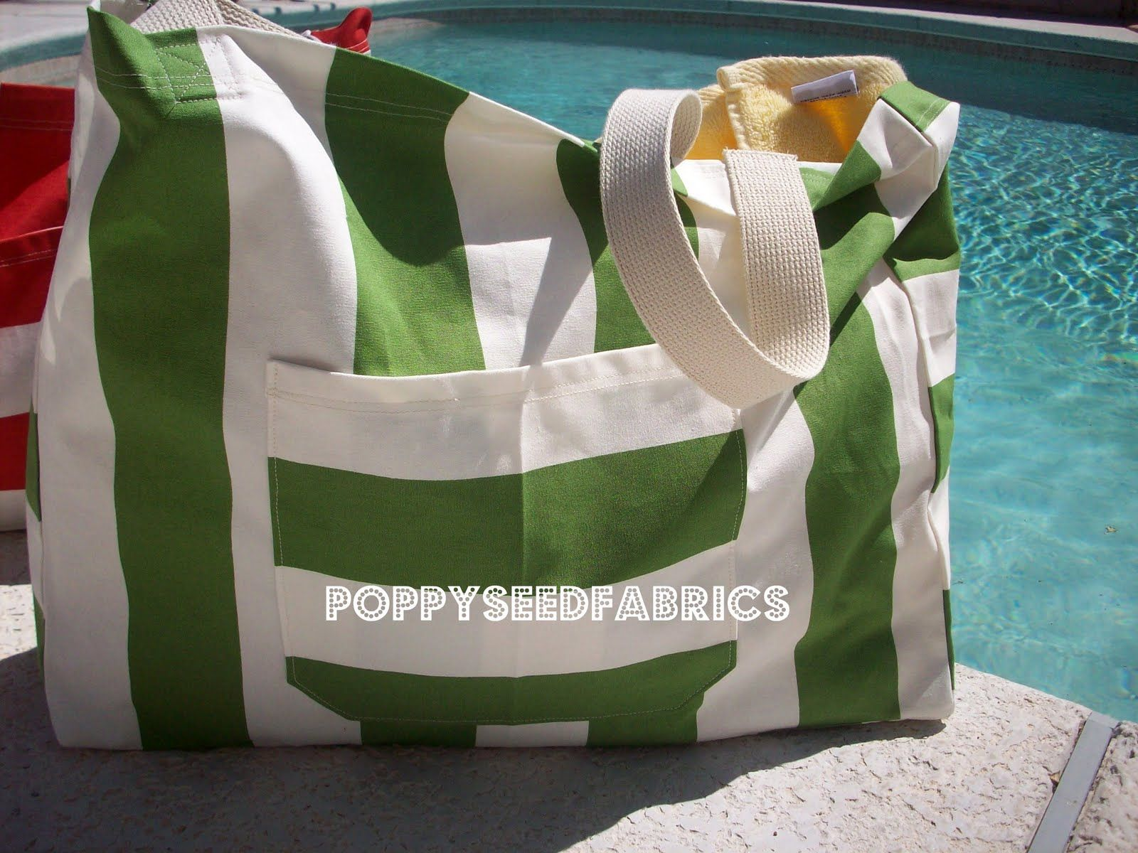 My friend found this great beach bag tutorial HERE  and was able to get a hold of some great stripe canvas fabric from Ikea. I wasn't so lu...