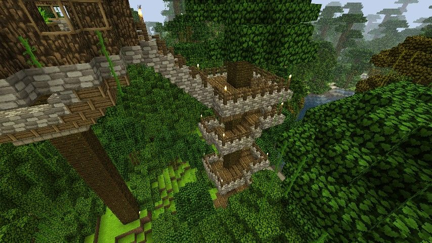 Jungle Tree Houses Updated Minecraft Project Minecraft Jungle House Jungle House Minecraft Projects
