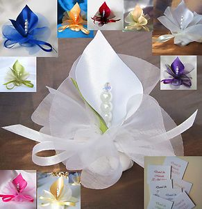 Calla Lilly Wedding Favor 1 Each Silk Flower Pouches Contain 5 Sweets And Adorned