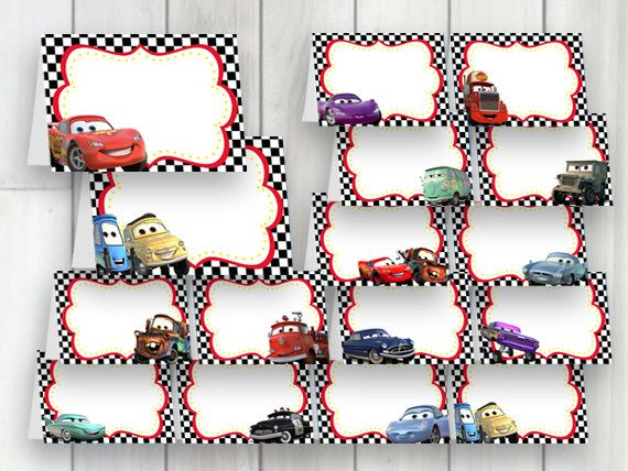 Cars Party Food Labels Large Pack 16 Instant Download Labels Cars