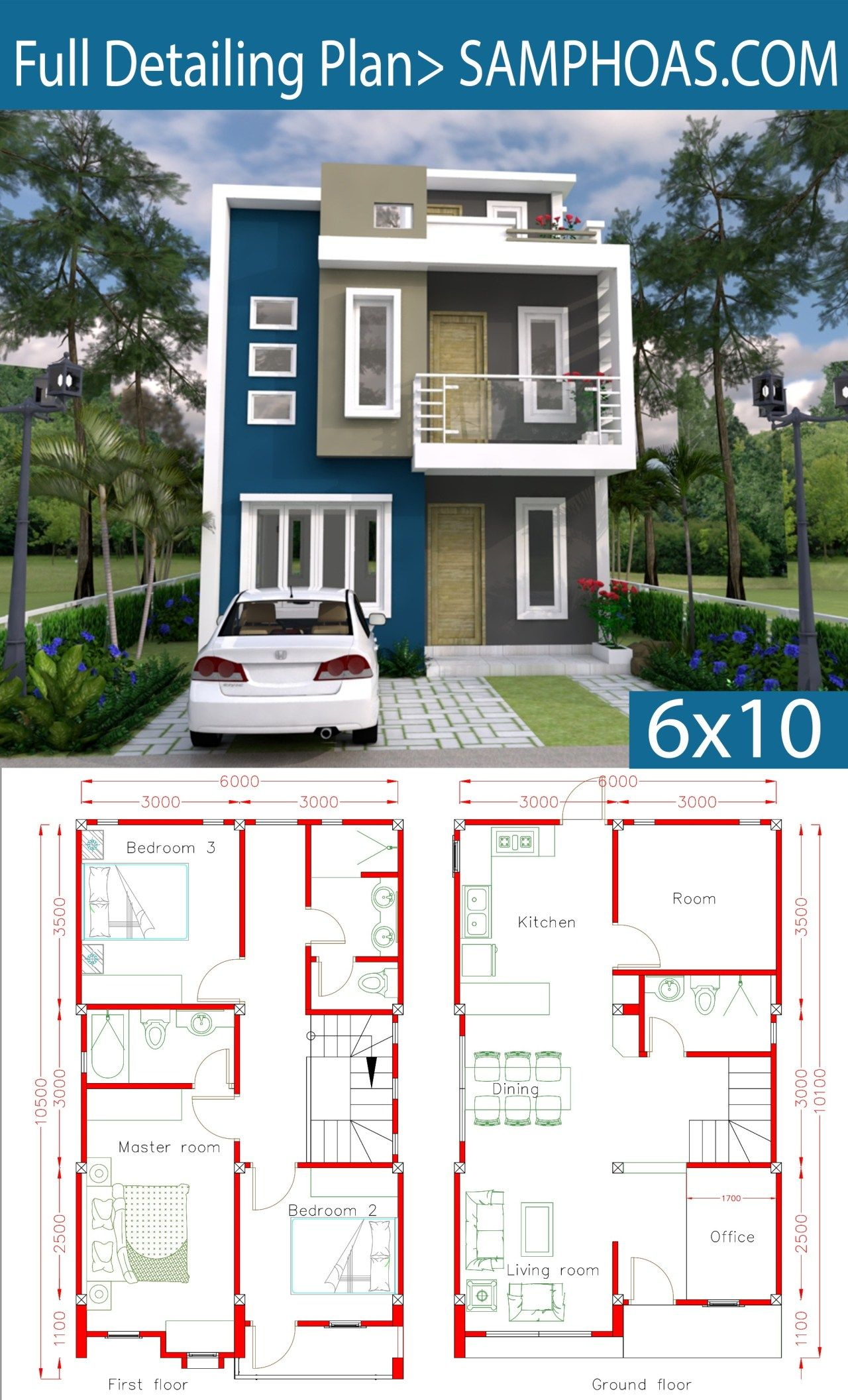 Sketchup Home Design Plan 6x10m With 4 Rooms Samphoas Plan Architectural House Plans Model House Plan House Layout Plans
