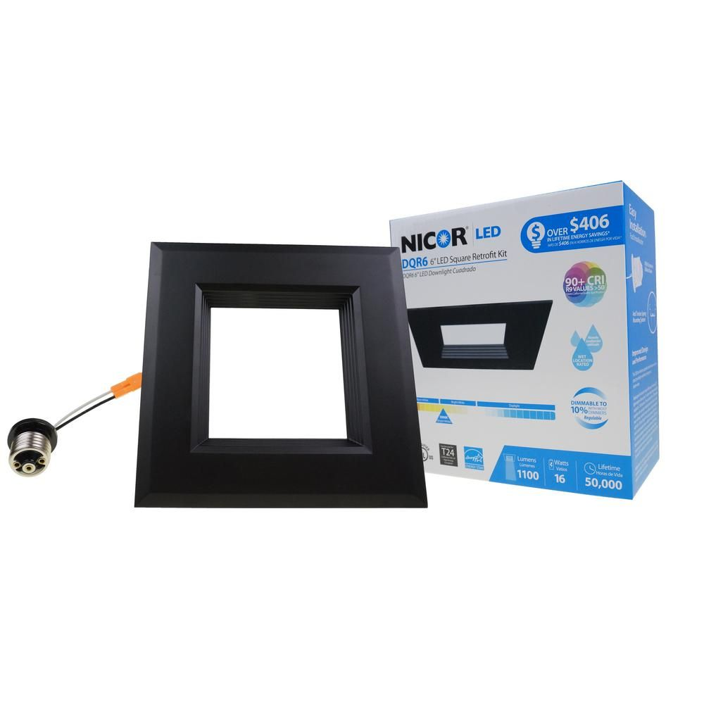 Nicor Dqr6 Series 6 In Black Integrated Led Square Recessed Retrofit Downlight Trim Kit 3000k 1280 Lumens Dqr6 10 120 3k Bk Bf Downlights Led Recycling Programs