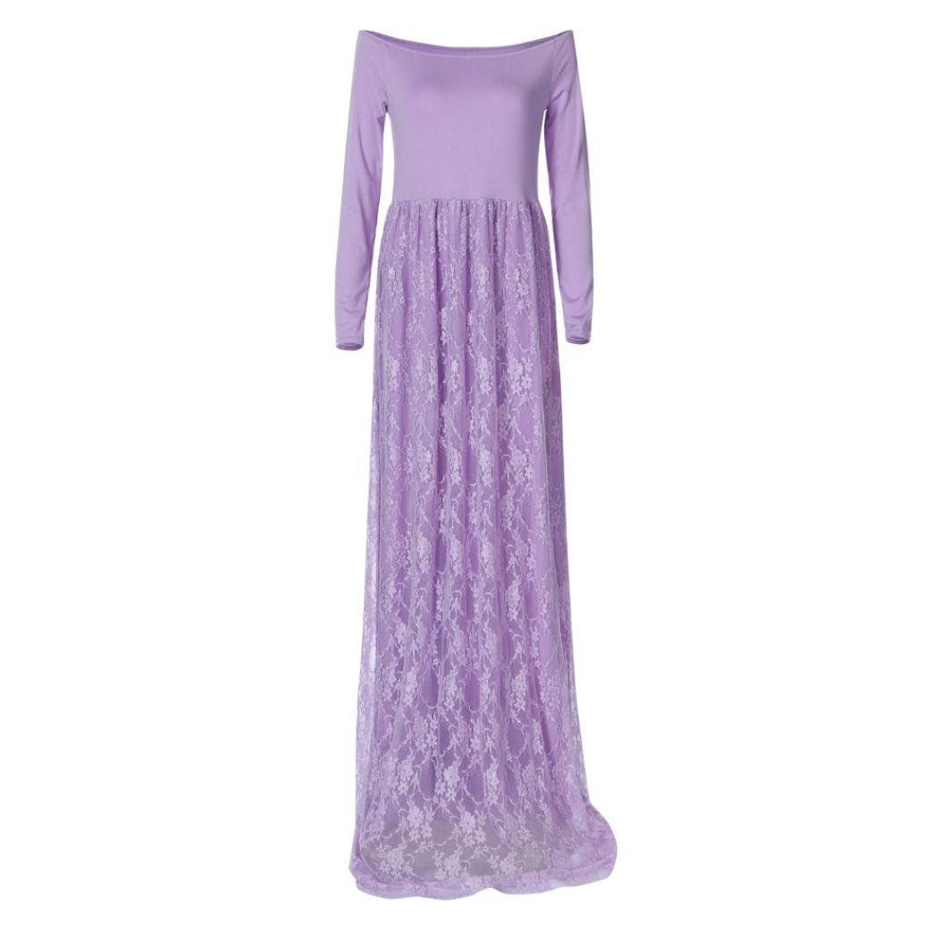 81395ccfd90d2 Women Maternity Clothes - Voberry@ Maternity Maxi Dress Elegant Fitted Maternity  Gown Off Shoulders Lace Long Sleeve Photography Dress S Purple >>> Click ...