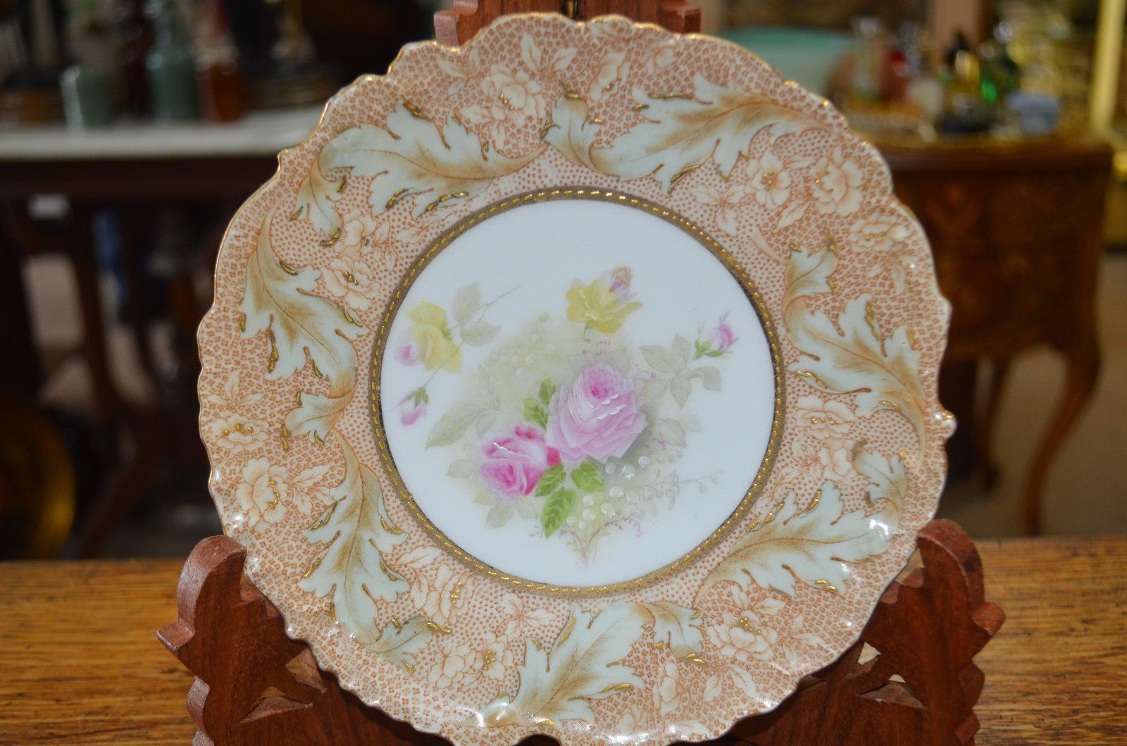 5 Vintage Bavarian China Pink Roses Dessert Plates Germany Signed Hand Painted | eBay