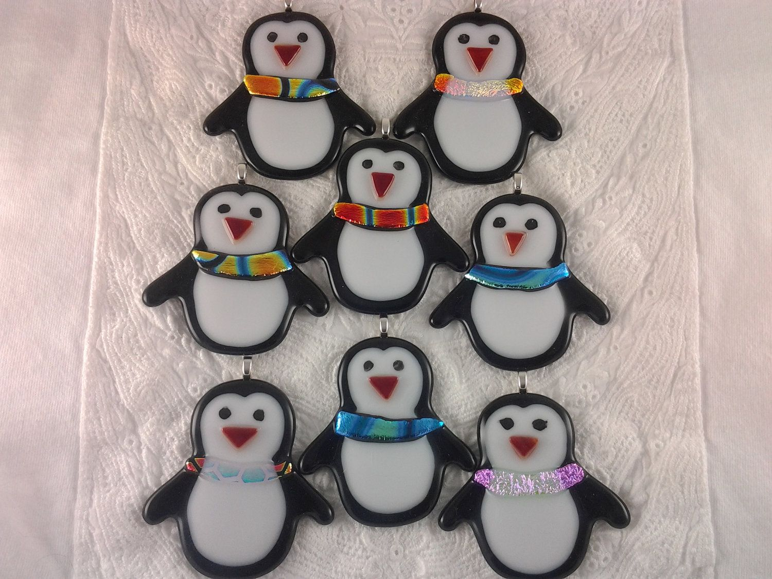 Penguin christmas ornament fused glass by