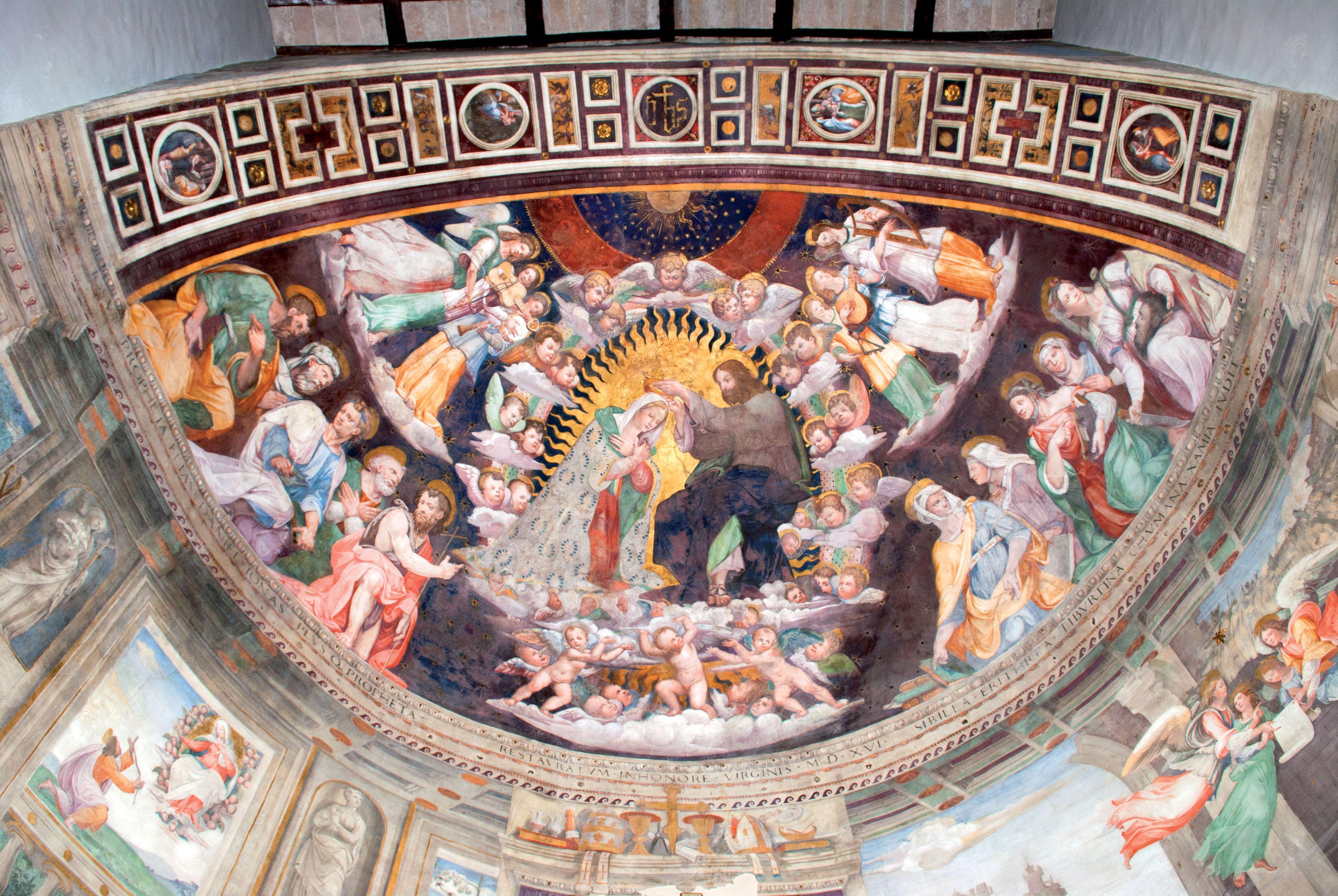 Arrone, Chiesa di Santa Maria, l'affresco dell'incoronazione della Vergine realizzato da Vincenzo tamagni (1516)