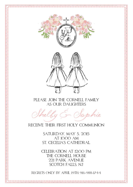 ea5d58981e49ba04cbfe30a4303ab284 first communion invitation shadow standing damask twins (boys,First Communion Invitations For Boy Girl Twins