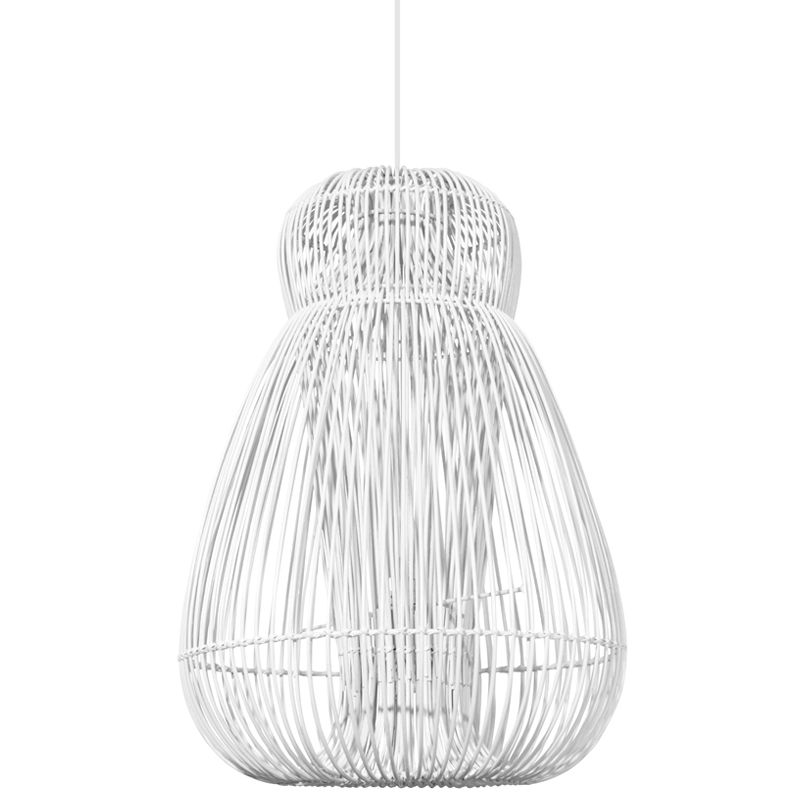Tall rattan lamp hanging white for sale