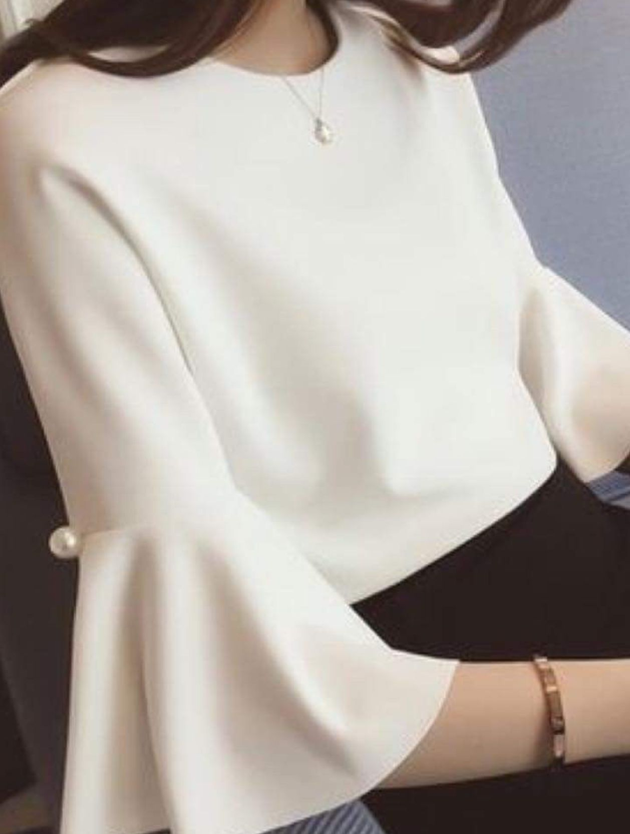looking for pink, tunic length, wide sleeves with flared bottom