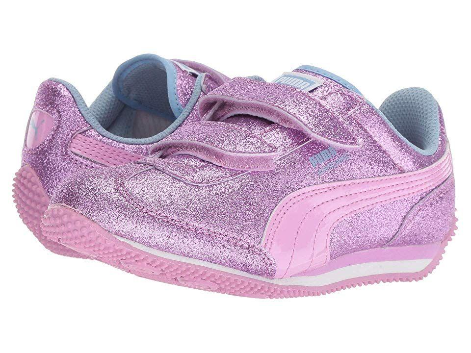 72e7b54b28a7 Puma Kids Whirlwind Glitz V (Little Kid Big Kid) (Orchid Cerulean Puma  White) Girls Shoes. Keep sparkling style on their feet with the fun Puma  Kids ...