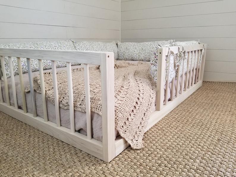 Montessori Floor Bed With Rails Twin, Full, or Queen Floor