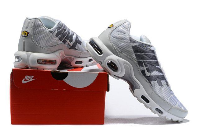 453bcea9291c Original Nike Air Max Plus TN Striped Pure Platinum Dark Grey White Wolf  Grey AT0040 003 Sneakers Men s Running Shoes