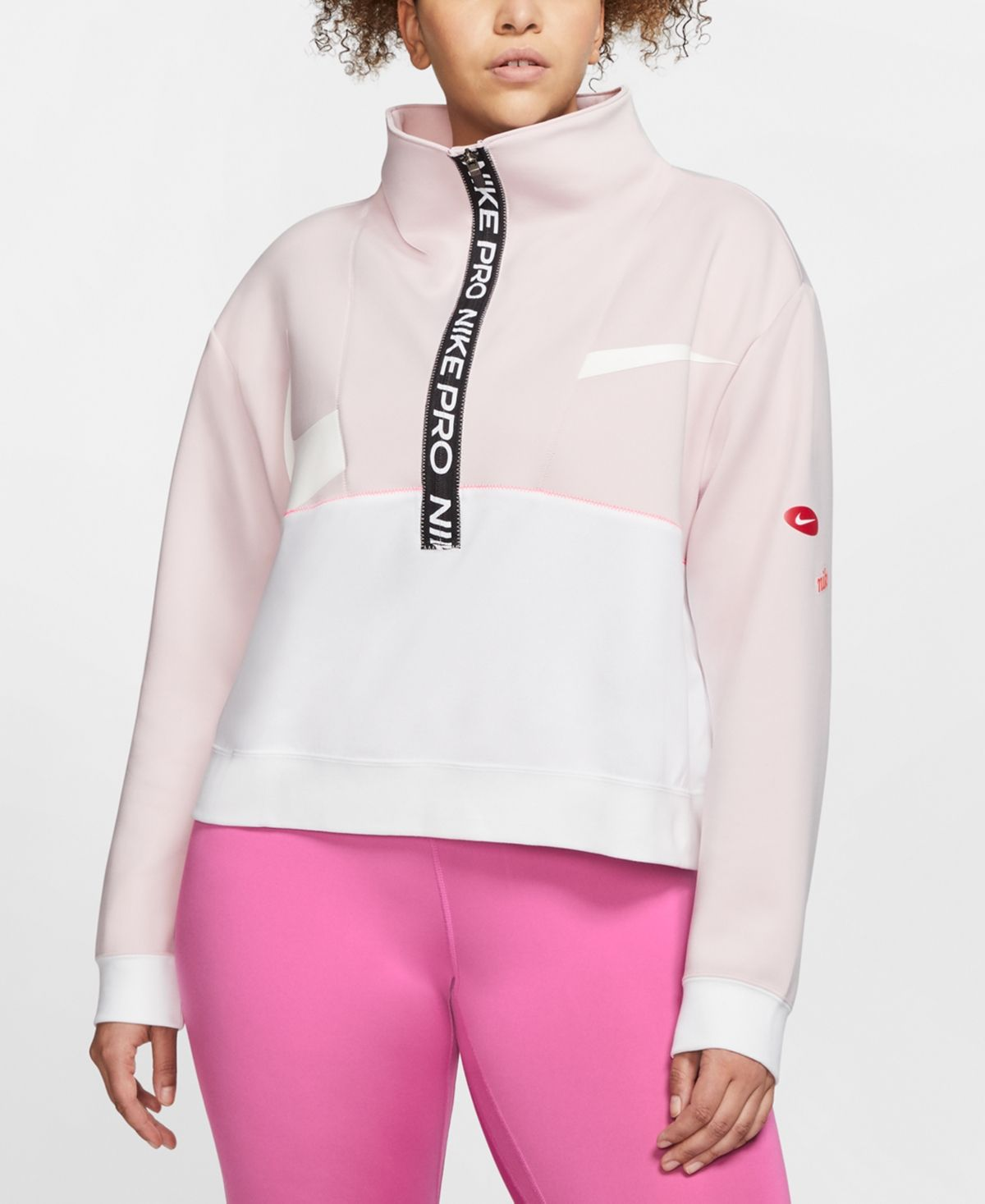 Photo of Nike Plus Size Pro Dri-fit Fleece Top – Barley Rose/White