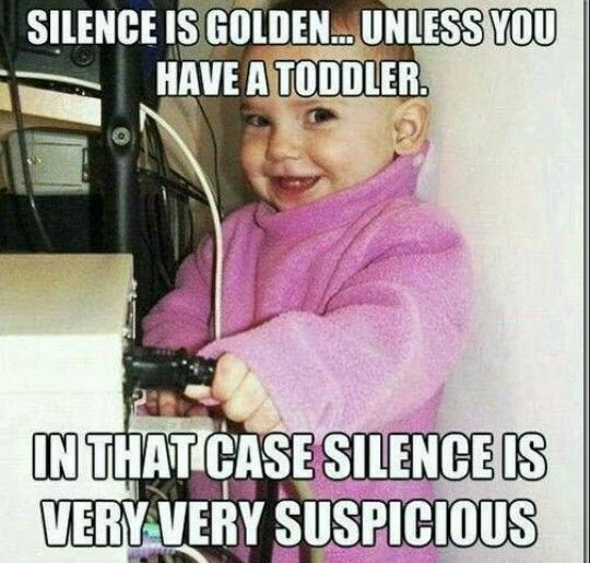 Silence With A Toddler Isn T Good Funny Babies Baby Memes