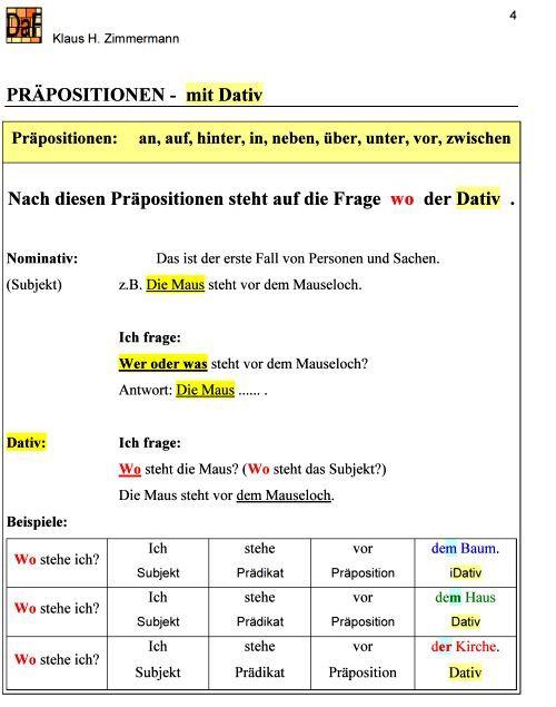 Deutsch als Fremdsprache DaF DaZ Grammatik - Präpositionen ...