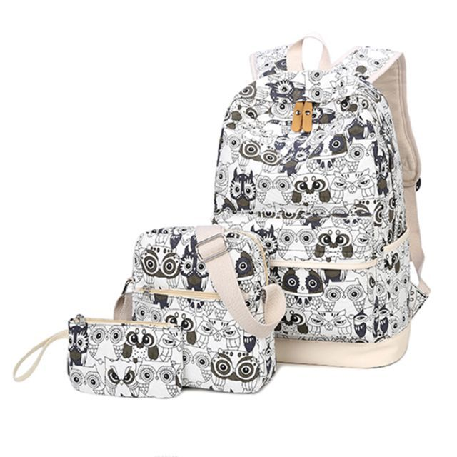7b4272c522b Buy Yufang 3 Pcs Set Backpack Women Owl Printing Backpack Canvas Bookbags  School Backpacks Bags For Teenage Girls Bagpack Backbag  48.20- ICON2