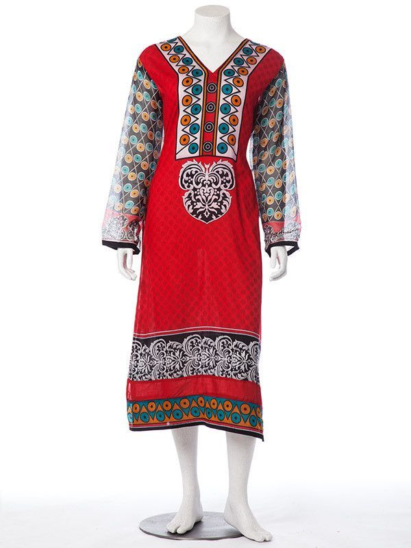 Printed Dark Red Lawn Stitched Suit with Print Chiffon Dupatta and Pants