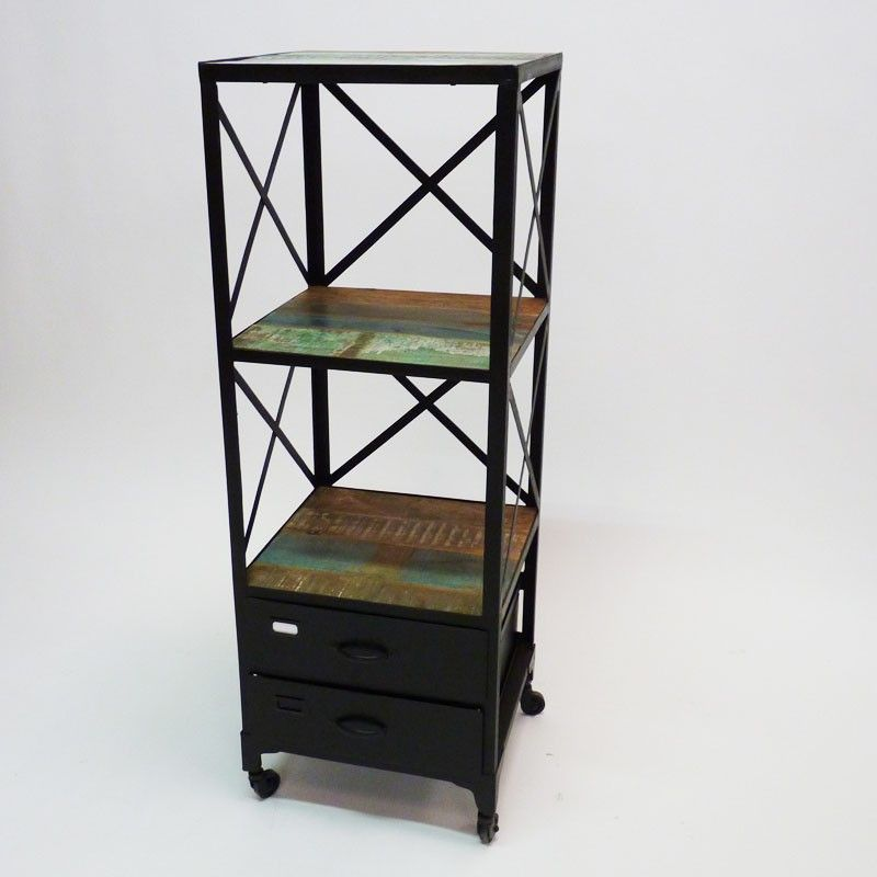 Meuble bibus de type loft industriel en métal et bois coloré avec ...